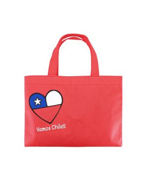 bolsa ecologica Vamos Chile pequeña rojo