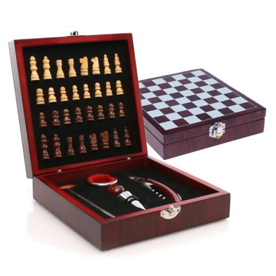 Set vino juego ajedrez caja madera