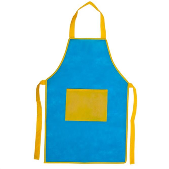 DELANTAL PECHERA ESCOLARES Azul con amarillo