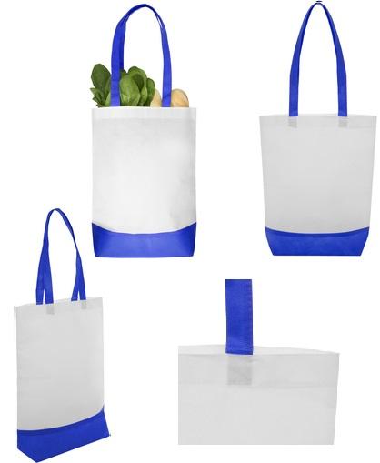 Bolsa reciclable blanca con detalles azules