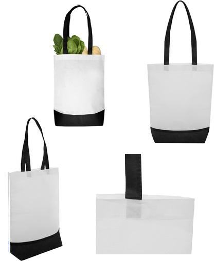 Bolsa reciclable blanca con detalles negro