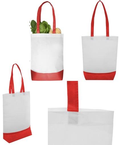 Bolsa reciclable blanca con detalles rojo