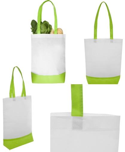 Bolsa reciclable blanca con detalles verde