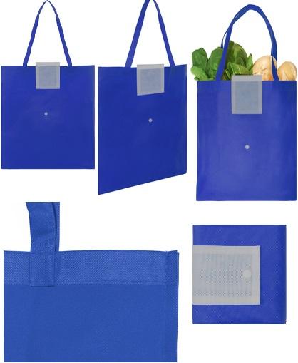Bolsa reciclable colores con boton-Azulino