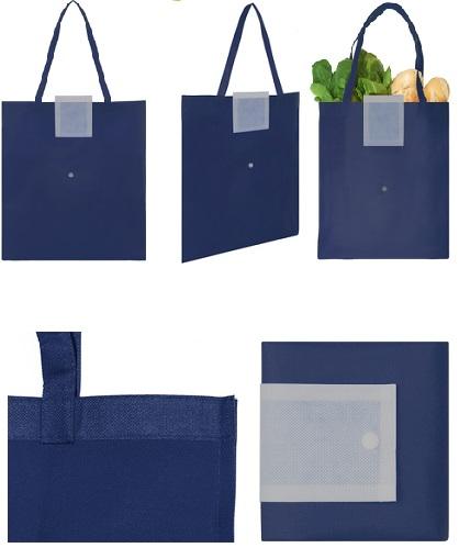 Bolsa reciclable colores con boton-azul