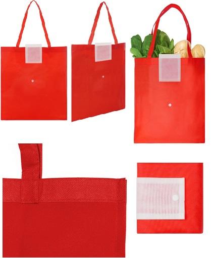 Bolsa reciclable colores con boton-rojo