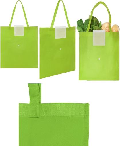 Bolsa reciclable colores con boton-verde