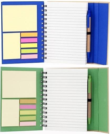 cuaderno con post it-azul – verde