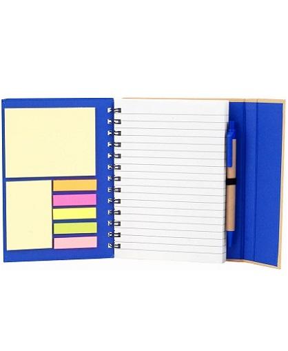 cuaderno con post it-azul