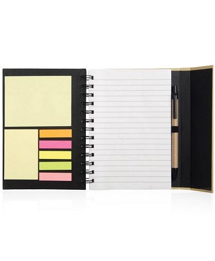 cuaderno con post it negro