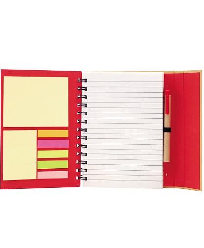 cuaderno con post it rojo