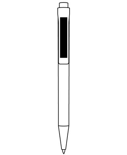 Lapiz blanco con pulsador y punta color plata logo