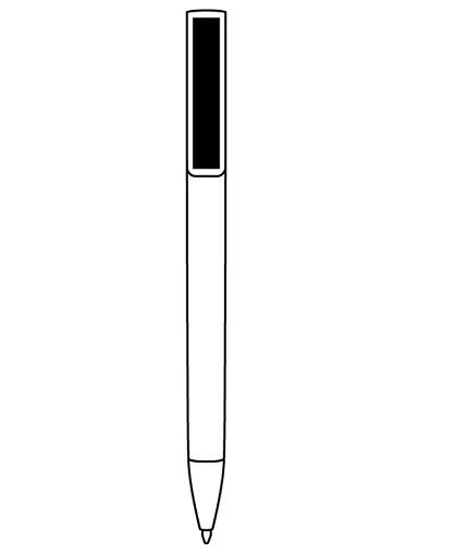 Lapiz color , clip y puntera color plata LOGO