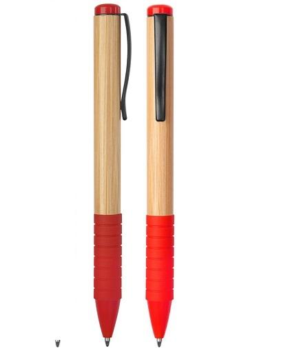 lapiz bamboo con grip de goma rojo