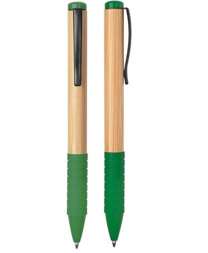 lapiz bamboo con grip de goma verde