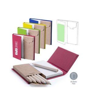 Set de bloc de notas con caja de lápices