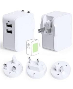 Adaptador viaje con doble salida USB blanco_full