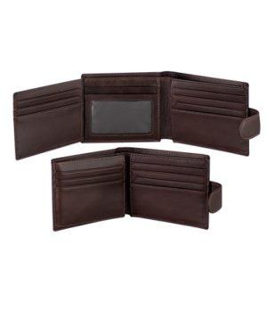 Billetera de cuero con broche abierto