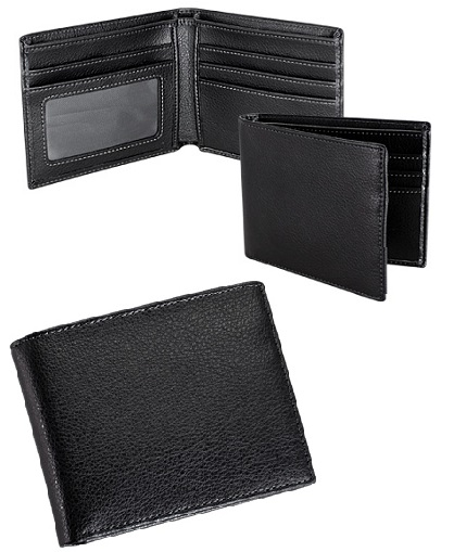 Billetera de cuero natural abierta negro