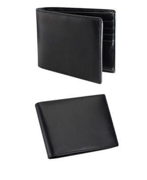 Billetera de cuero natural liso -negro lado