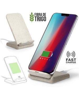 Cargador inalámbrico soporte para celular en caña de trigo - full