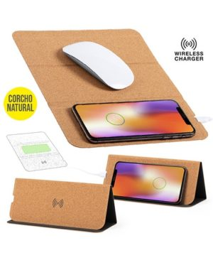 Cargador inalambrico integrado en mouse pad de corcho full