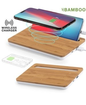 Cargador organizador inalámbrico con soporte celular de bambu full