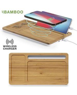 Cargador organizador inalambrico de bambu _full