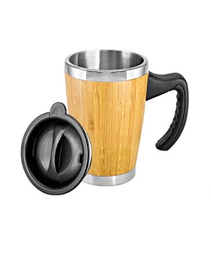 Mug de Bamboo con Asa Plastica tapa