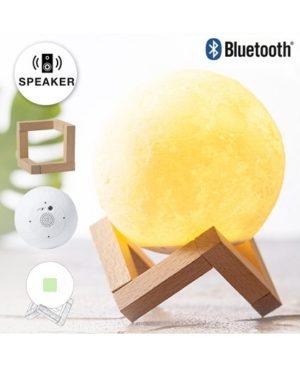 parlante lampara con base madera full