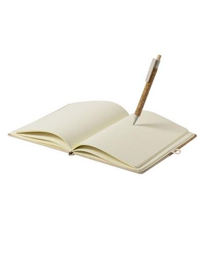 Bloc Notas Brastel corcho natural y lapiz_uso