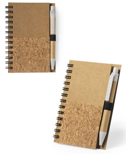 Libreta de corcho y carton con lapiz-lado