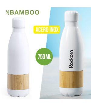 Botella blanca mate y bambu